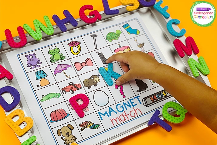 Use magnets or letter tiles to place on top of the pictures by identifying their beginning sounds.