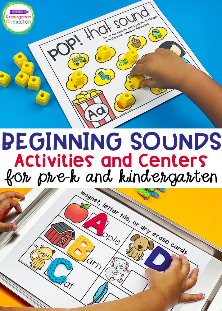 Grab these Beginning Sound Activities and Centers for Pre-K & Kindergarten to add some engaging, hands-on learning to your literacy centers!