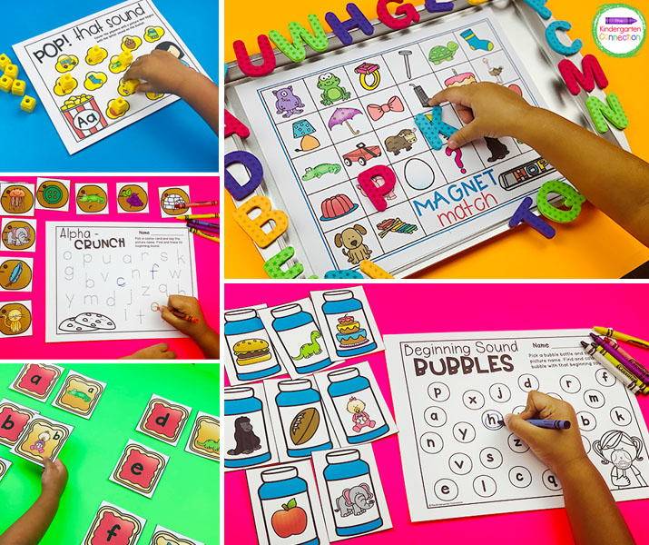 This pack includes beginning sound centers that are not themed and can be used any time of year!