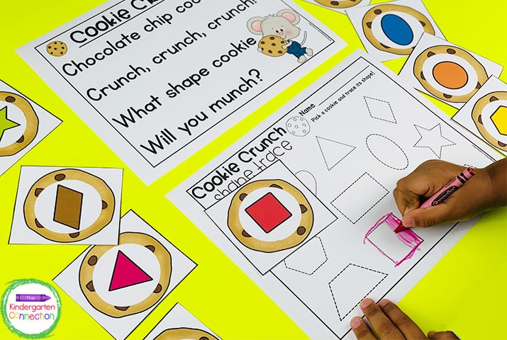 Students can further explore these fun chants during center time like this Cookie Crunch Shape Trace Game.