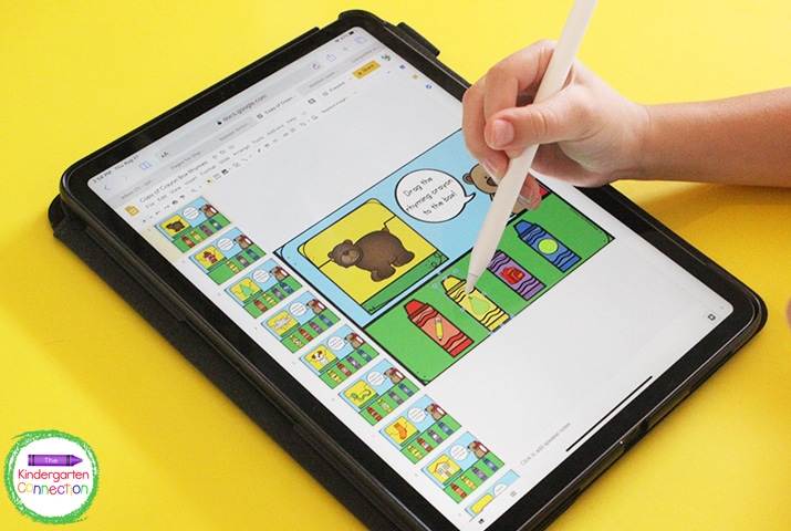 In this digital literacy game, students look at the picture on the crayon box and find the crayon that has a picture of a word that rhymes.