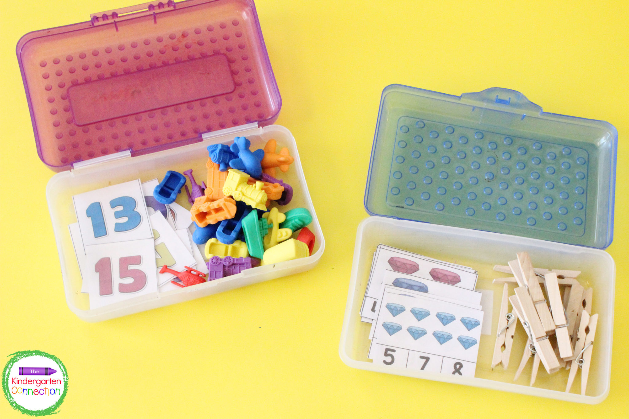 Box centers use one set of manipulative cards for multiple games that work on important math and literacy skills.