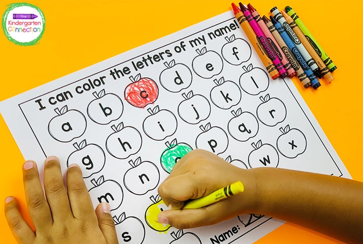 Once students can recognize and pick out their name, they can start thinking about the letters that make up their name.