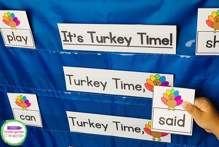 This pack also includes themed pocket chart chants and games like this Turkey Time activity.