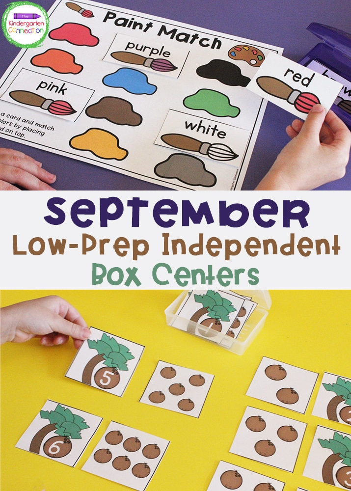 These Low-Prep Independent September Center Activities for Pre-K & Kindergarten are perfect box centers for back to school season!