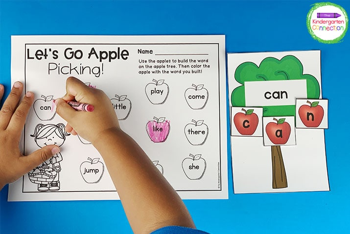 The fun color pictures and game pieces like these apples will have your students lining up to practice their sight words!