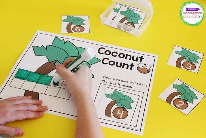 In the Coconut Count 10 frame math activity for Kindergarten, students pick a number card and fill in the ten frame to match.