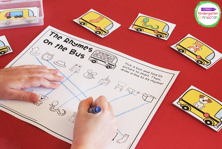 These cute school bus manipulative cards focus on rhyming!