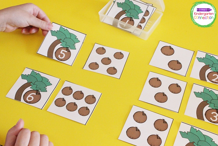 Students can use the manipulative cards and match the coconut counting cards to the coconut tree number cards.