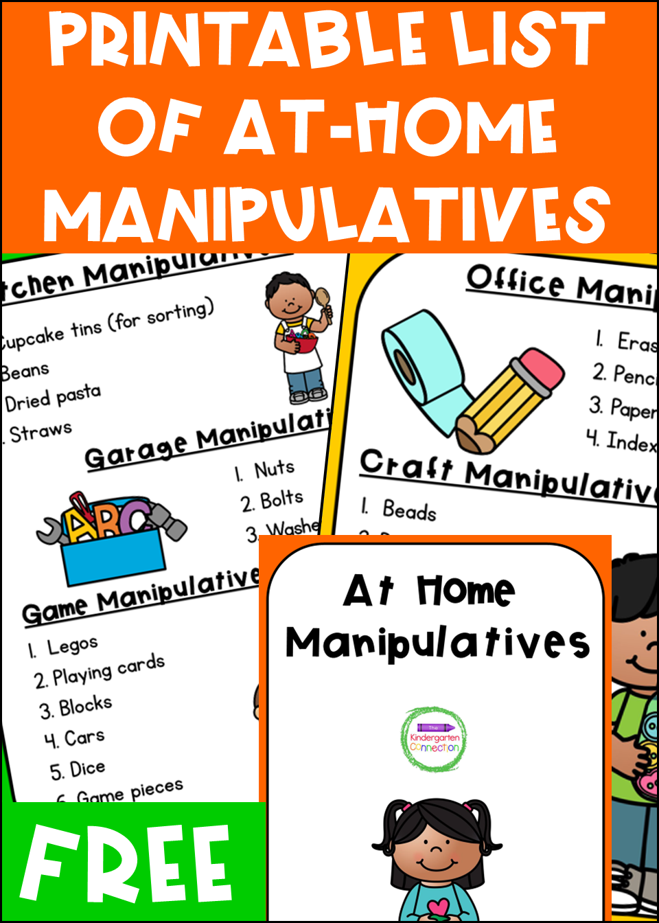 This list of At-Home Learning Manipulatives for Pre-K & Kindergarten offers students support to continue hands-on learning in their own homes!