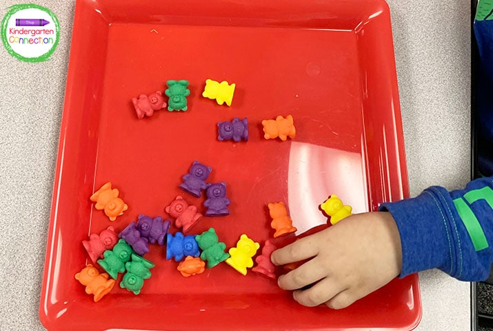 Counting bears are fun and can work with many different math center activities.