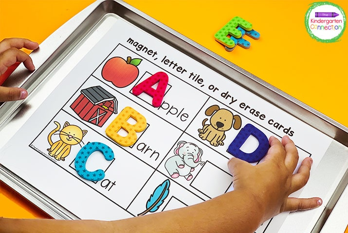 These templates for Kindergarten center planning are perfect for incorporating activities like this beginning sound letter magnet activity.