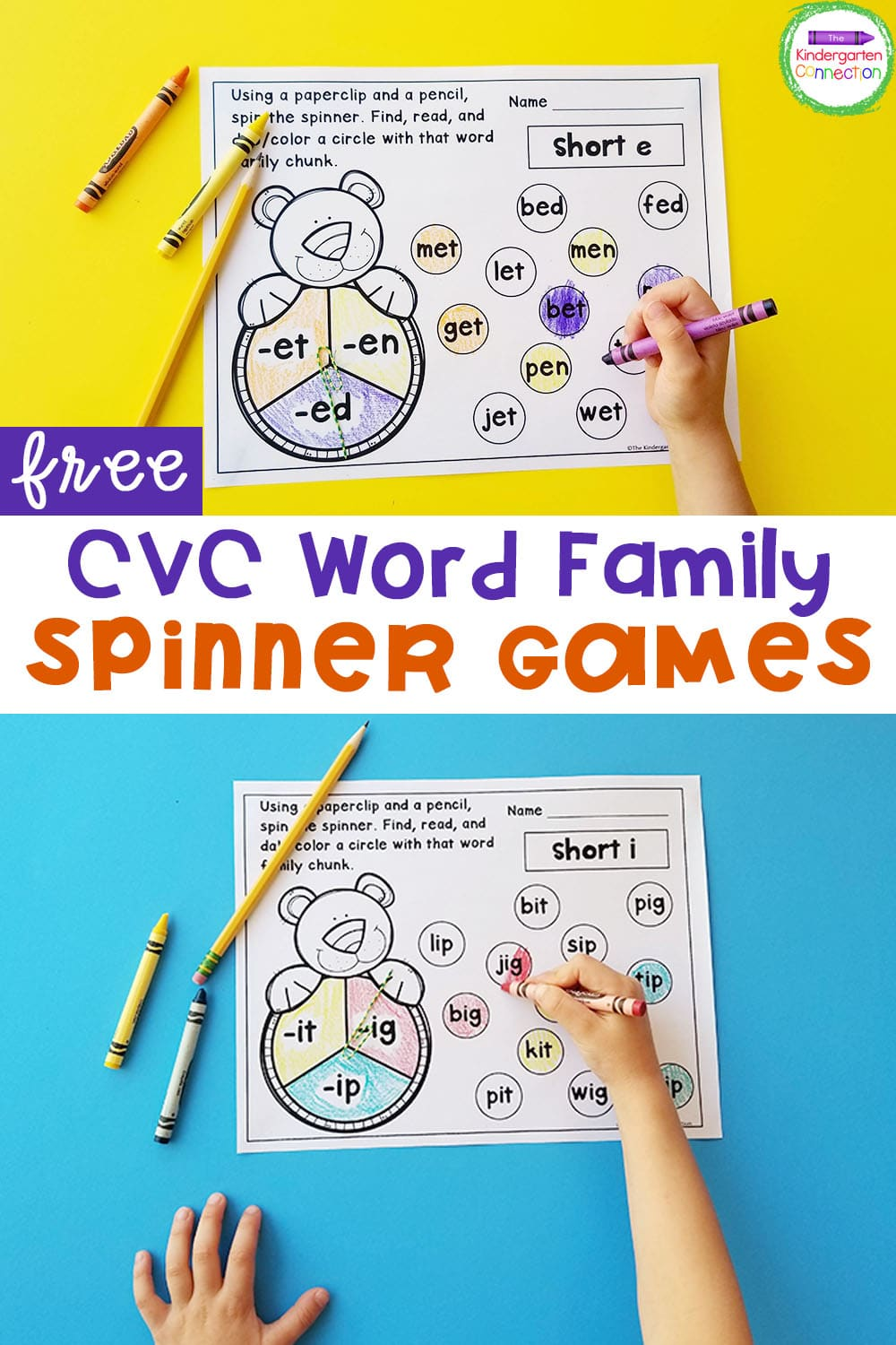 These FREE CVC Word Families Spinner Games are a fun, hands-on way to practice word families in Pre-K and Kindergarten!