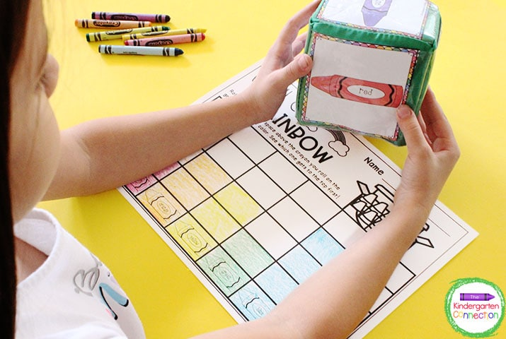 Roll the dice and record the roll by coloring the box in the matching color crayon on the recording sheet.