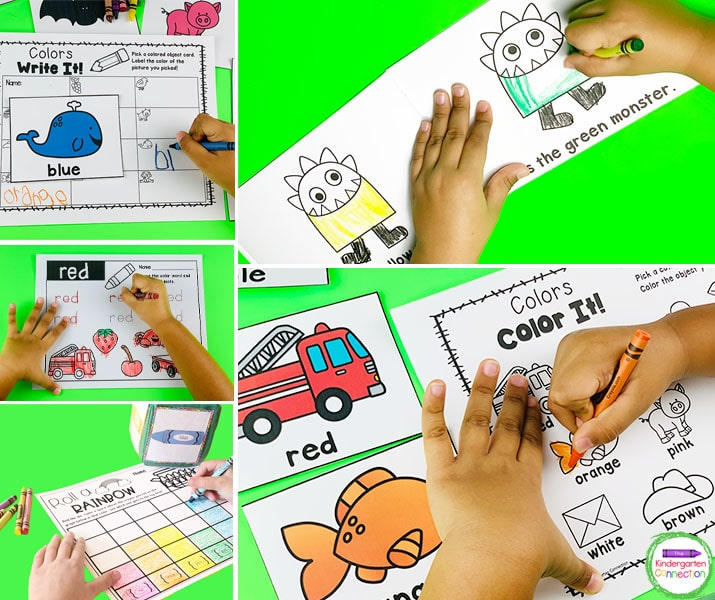 These resources include activities for identifying, writing, tracing, matching, and sorting colors and color words.