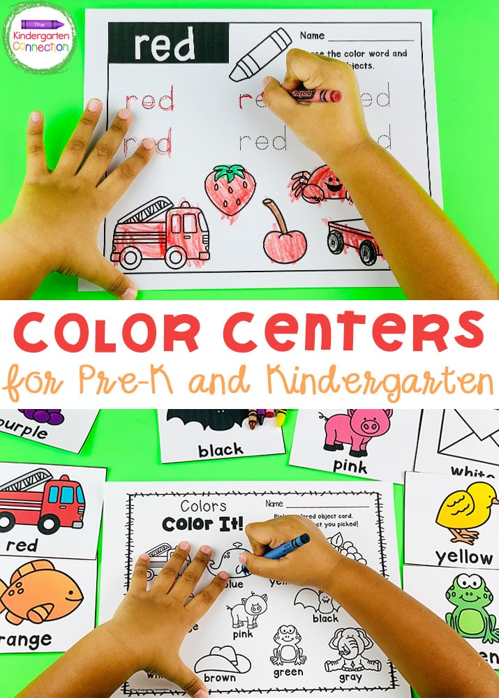These hands-on Color Activities & Centers are great for teaching color identification and color words to your Pre-K & Kindergarten students!
