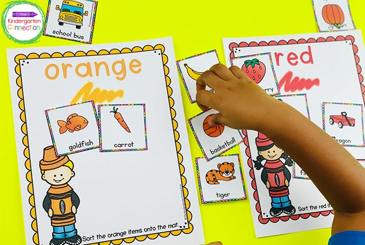 Laminate these sorting mats and color cards to have a low-prep center where students sort the cards onto the mat with the matching color.