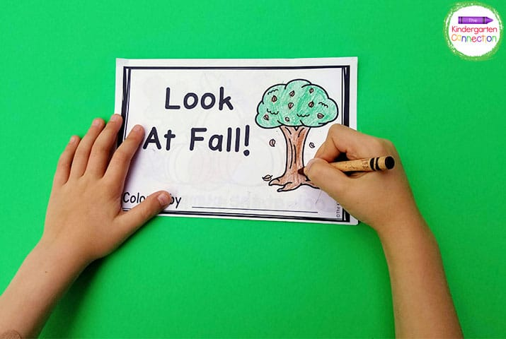 """Look At Fall!"" is a favorite emergent reader where we identify and color fall items."
