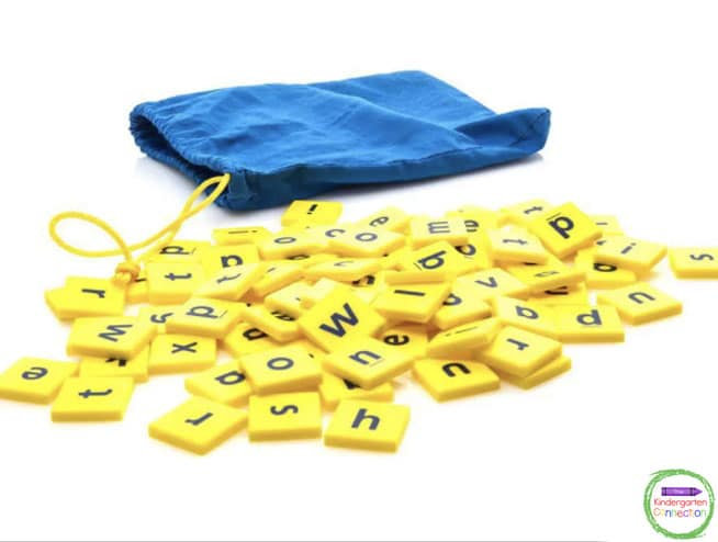 Kindergarten teachers use any game pieces with letters for spelling practice.