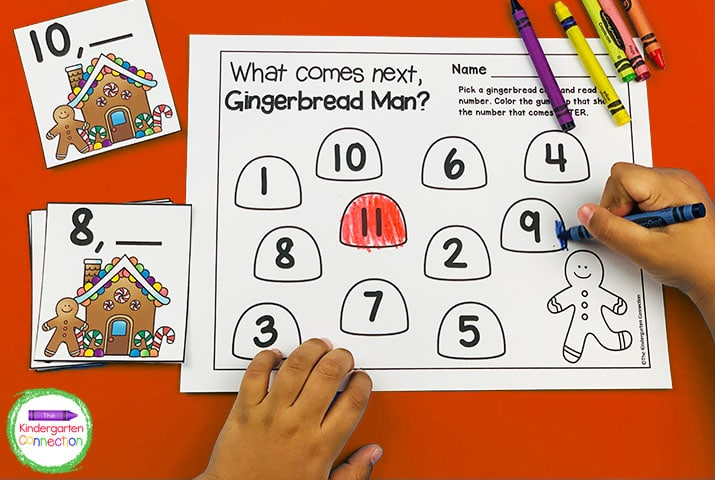 Practice number order by pulling a number card and coloring the number that comes next on the recording sheet.