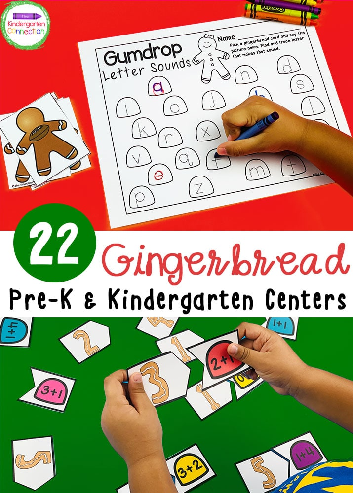 These Gingerbread Activities and Centers are perfect for Pre-K & Kindergarten. Your students will love the hands-on learning and fun theme!