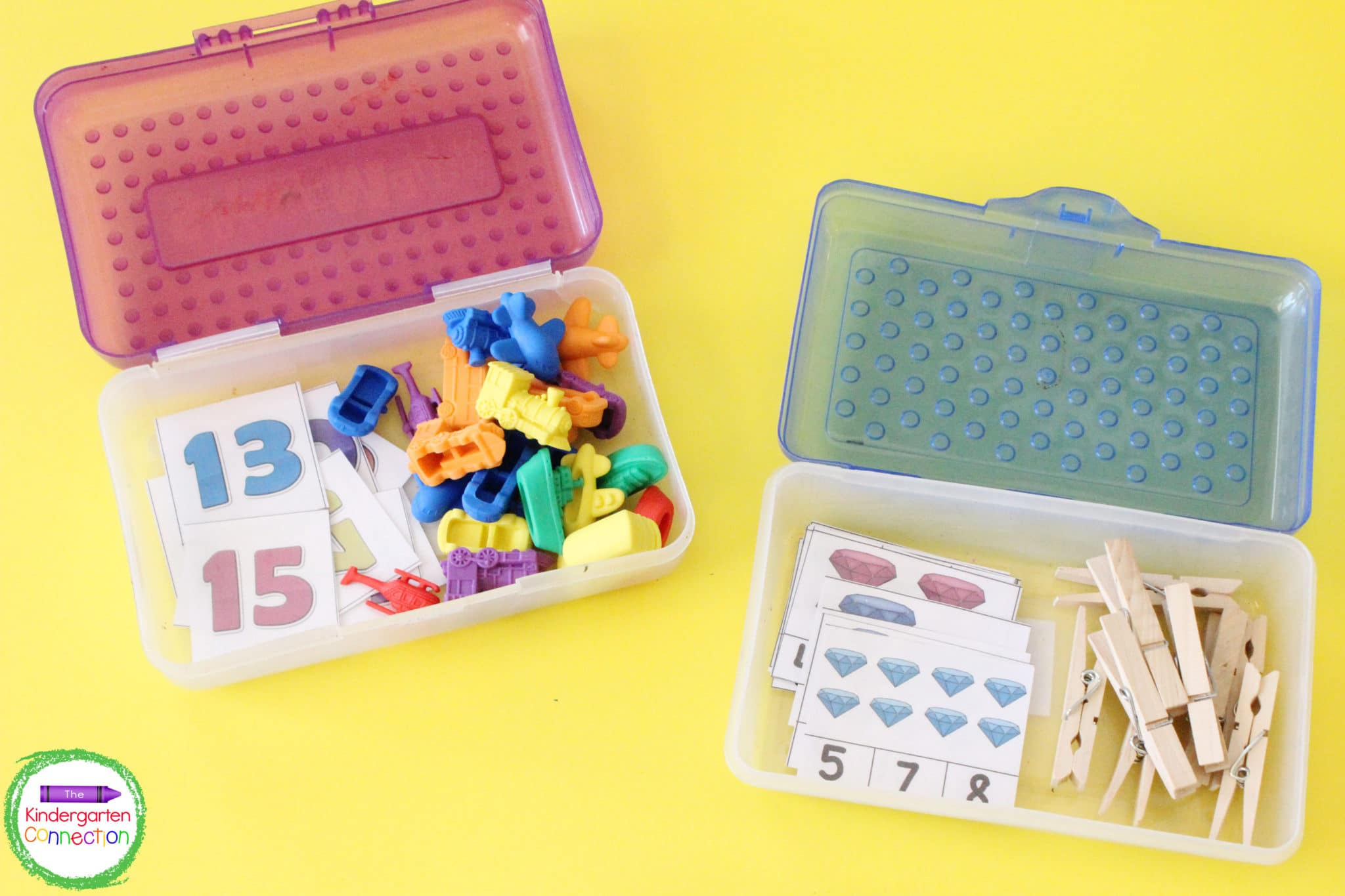 School supply boxes are perfect for storing a simple center activity and the manipulatives needed.