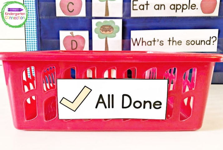 """When students are finished with something during centers or group work time, they put it in the """"All Done"""" bin."""