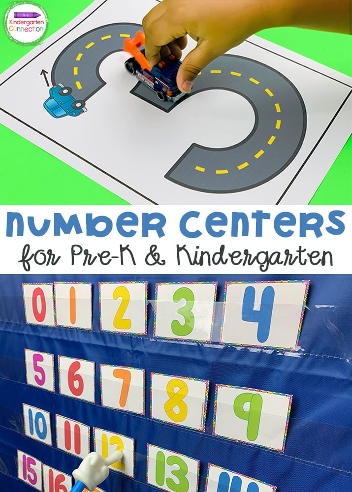 These Number Activities and Centers for Pre-K & Kindergarten provide fun, hands-on practice with number recognition and number words!