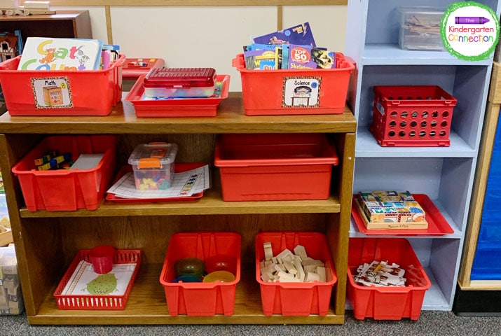 Color code your boxes and bins to clearly identify math and literacy centers.