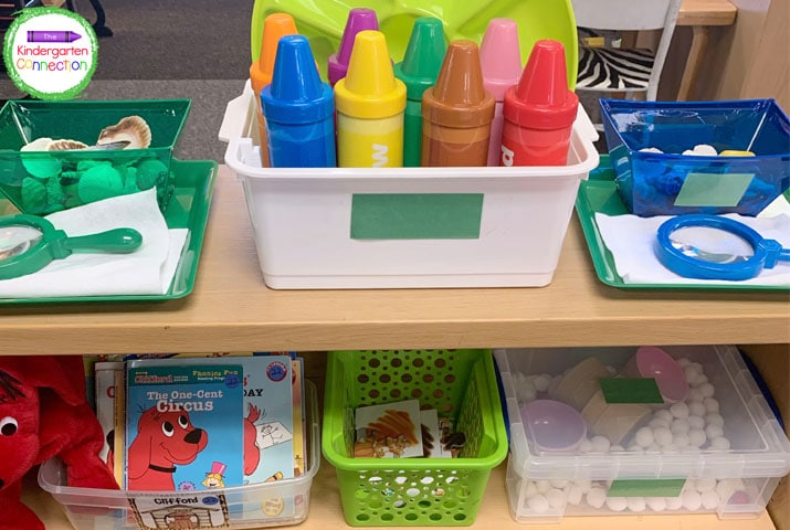 Laminate coordinating colored construction paper and tape it to your bins for easy color coding.