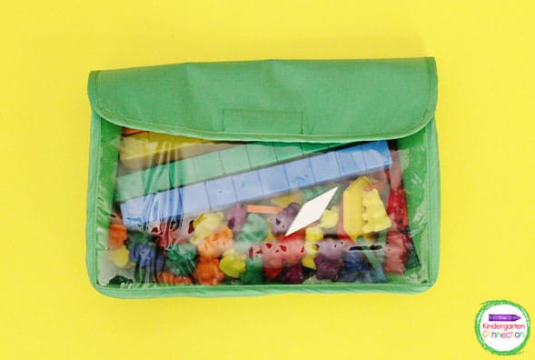 Manipulatives fit perfectly inside of a simple school supply or pencil pouch.