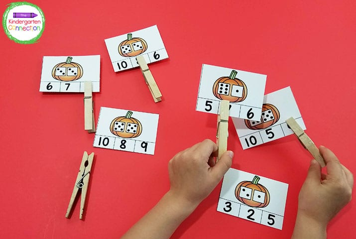These addition clip cards are great for building fine motor skills!