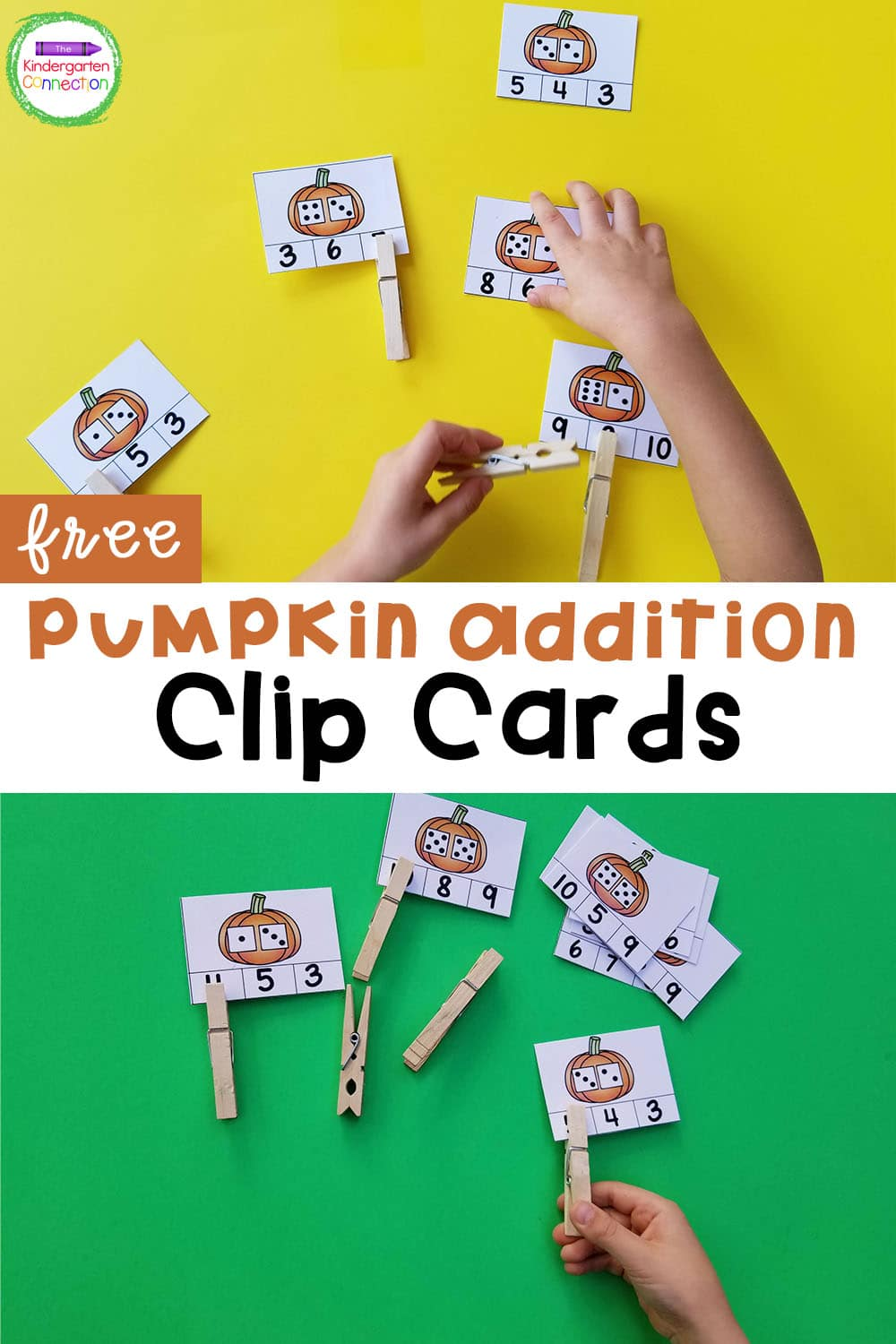 These pumpkin addition clip cards are a perfect fall math center for Kindergarten! Build counting and addition skills!
