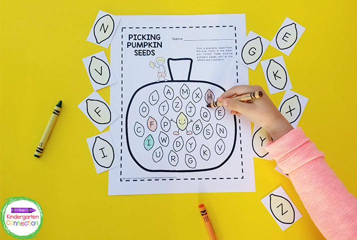 All you need is the letter pumpkin pieces, recording sheet, and crayons for an easy-prep literacy center.