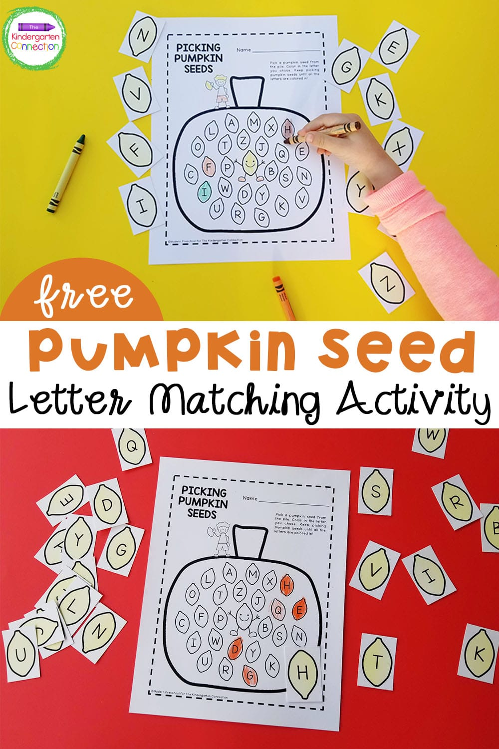 Learning the alphabet has never been more fun with this hands-on Pumpkin Letter Matching activity perfect for Pre-K & Kindergarten!