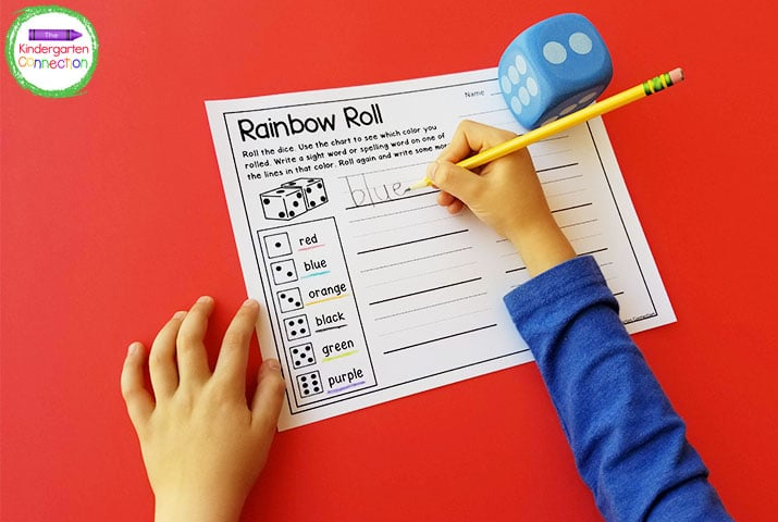 With Rainbow Roll, students roll the dice and write the sight word using the corresponding color.