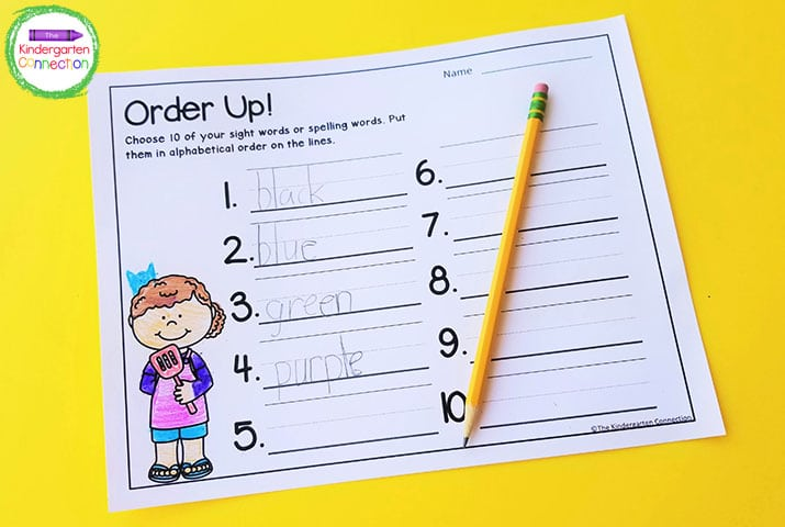 Order Up! is a fun sight word printable game for alphabetical order.