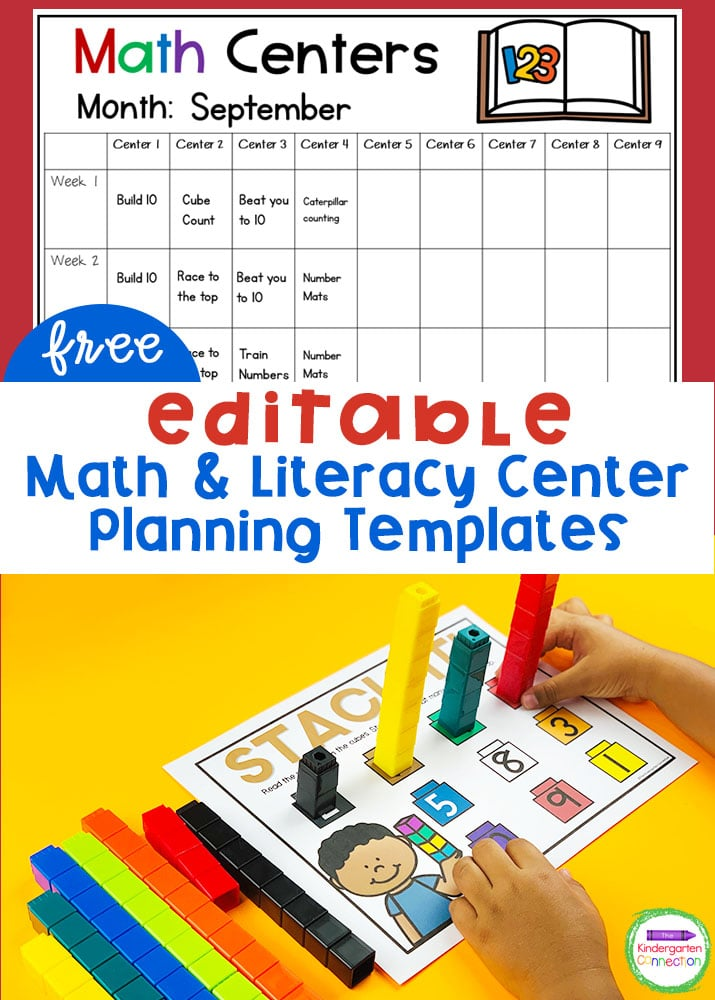 These Editable Math and Literacy Center Planning Templates for Kindergarten provide a great snapshot of your center plans for the month!
