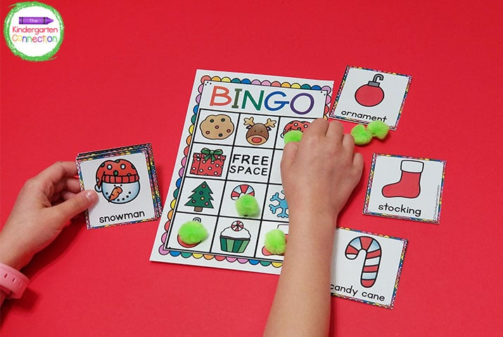 Give your students pom poms to use as their bingo markers for some extra holiday fun.