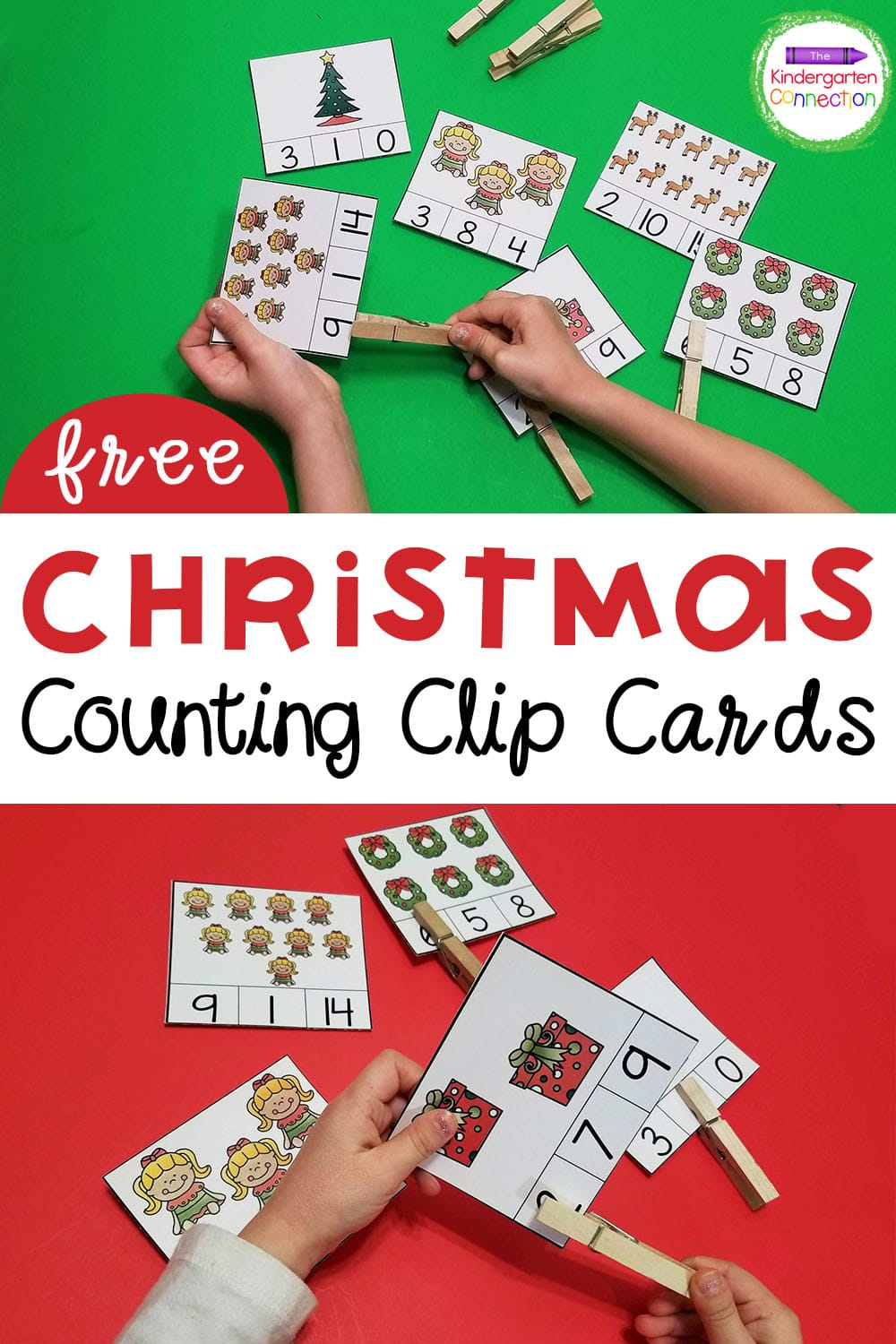 These free Christmas counting clip cards for Kindergarten are super versatile! They're great for practicing fine motor skills and counting!