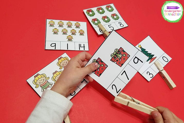 These Christmas counting clip cards cover counting from numbers 1 to 20!