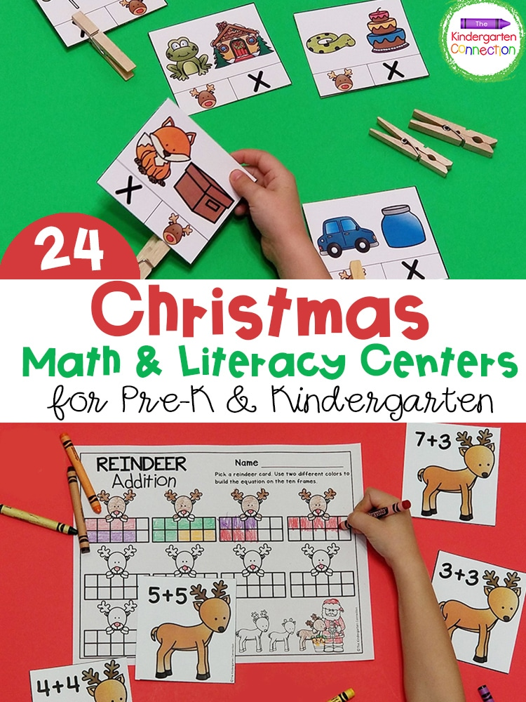 These Christmas Math and Literacy Centers for Pre-K & Kindergarten are a festive way to work on sight words, addition, subtraction, and more!