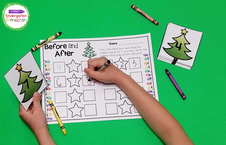 Your students will love practicing before and after number skills with this Christmas tree themed game!