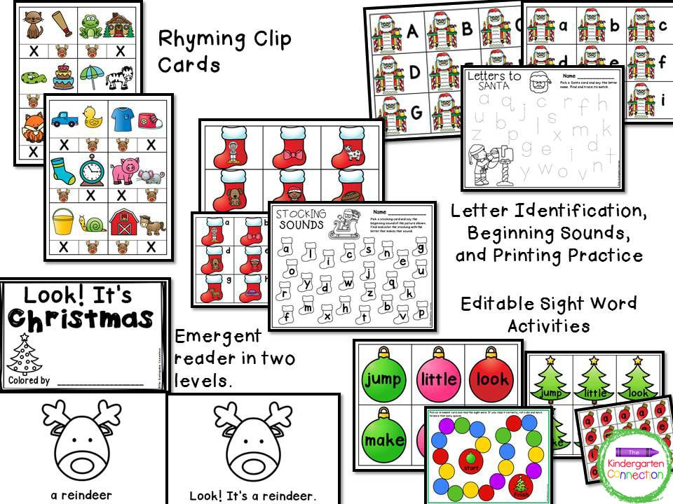 All of the color activities in this Christmas math and literacy center pack also come in black and white!