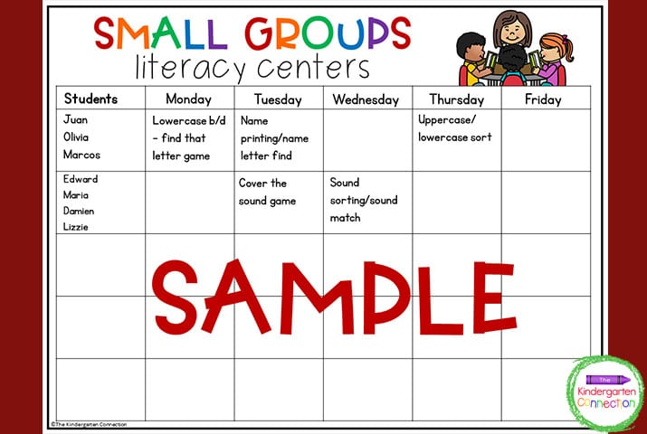 This small groups literacy center planning template is one of 2 options of templates to choose from.