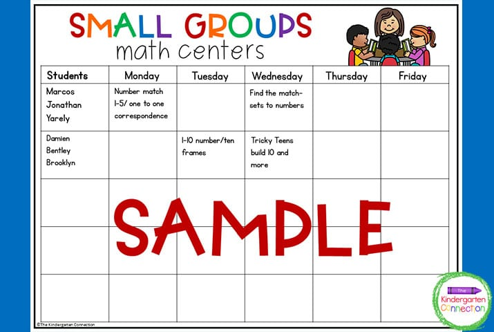 This small groups math center planning template is one of 2 options of templates to choose from.