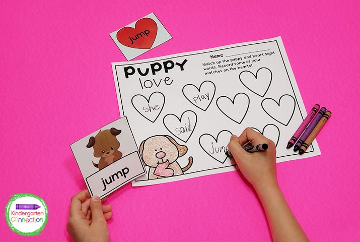 Pick a puppy card, and match it to its sight word heart. You can also choose to use the optional recording sheet!
