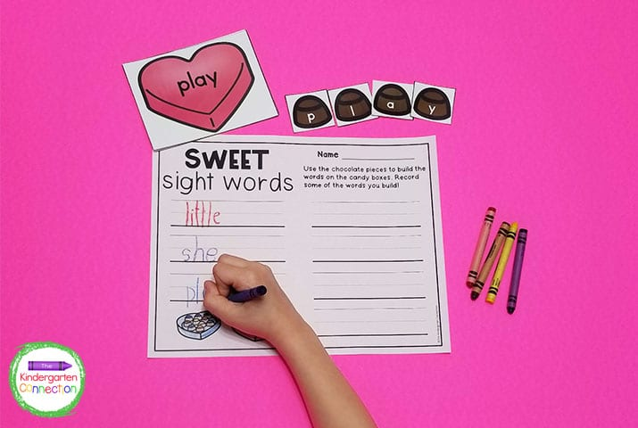 Use the chocolates to build the sight words on the boxes. Write the words on  the recording sheet for handwriting practice.