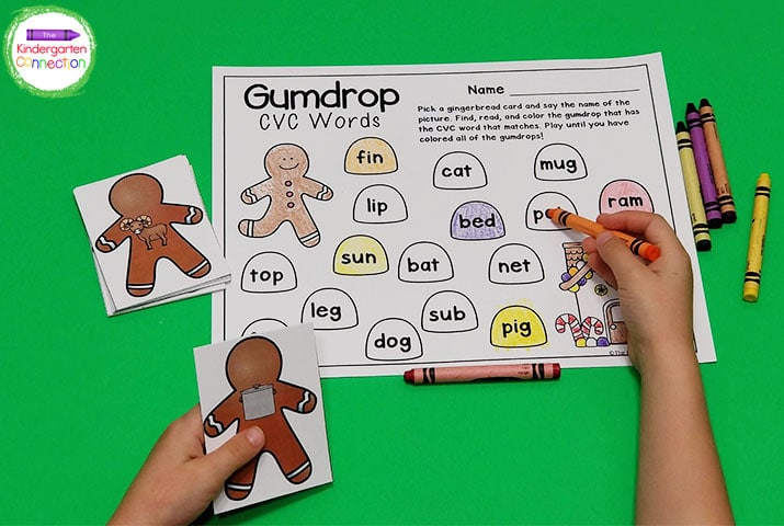 Students will pick a gingerbread picture card and color the corresponding CVC word on the recording sheet.