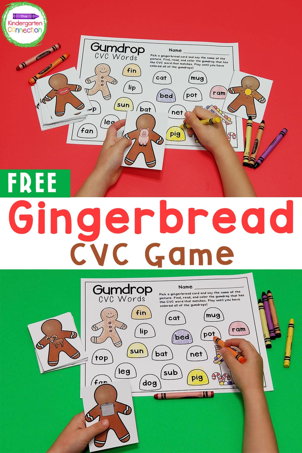 Practice reading CVC words this season with this fun and FREE gingerbread CVC game! It's perfect for Kindergarten and 1st Grade!